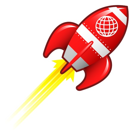 spacecraft: Globe icon on red retro rocket ship illustration