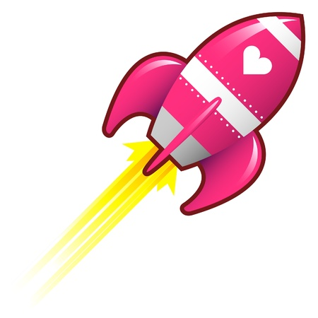 Heart or love icon on pink retro rocket ship illustration good for use as a button, in print materials, or in advertisements