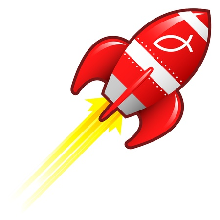 ichthys: Jesus fish icon on red retro rocket ship illustration  Stock Photo