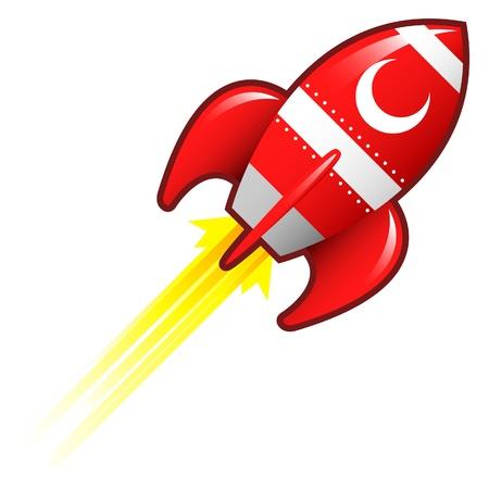 Crescent moon icon on red retro rocket ship illustration