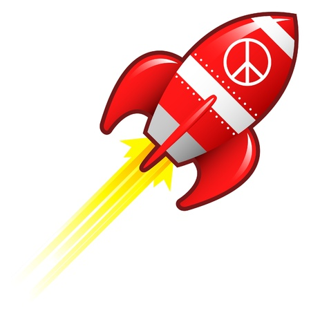 space wars: Peace sign icon on red retro rocket ship illustration