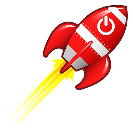 Computer power icon on red retro rocket ship illustration