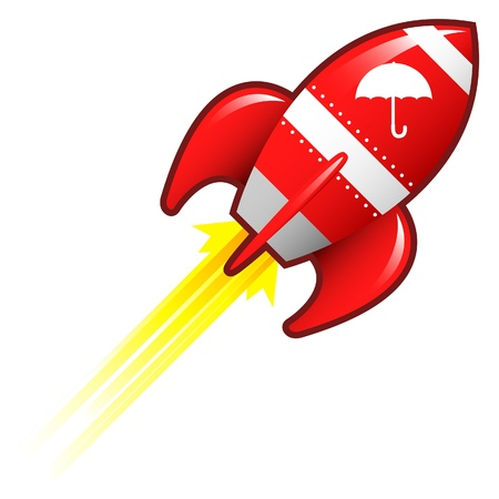 Umbrella or protection icon on red retro rocket ship illustration  Stock Illustration - 14417324
