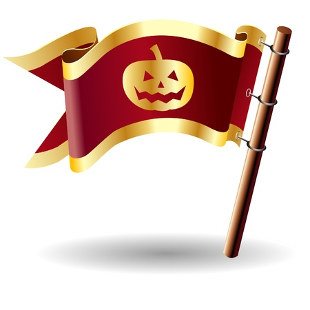 Halloween pumpkin Jack  o Lantern icon on red and gold vector flag