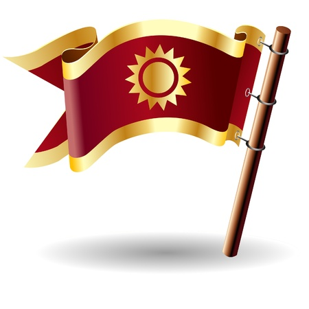 suffix: Sun icon on red and gold vector flag