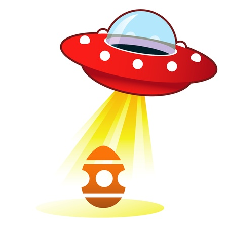 Easter egg icon on retro flying saucer UFO with light beam   photo