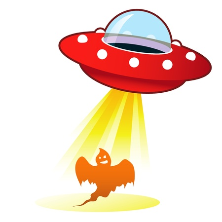 Retro flying saucer UFO with light beam on halloween ghost  Suitable for use on the web, in print, and on promotional materials  photo