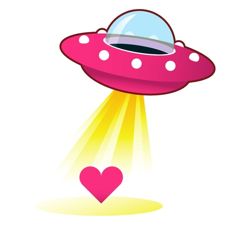 Heart, love, or relationship icon on retro flying saucer UFO with light beam  Suitable for use on the web, in print, and on promotional materials   Stock Photo