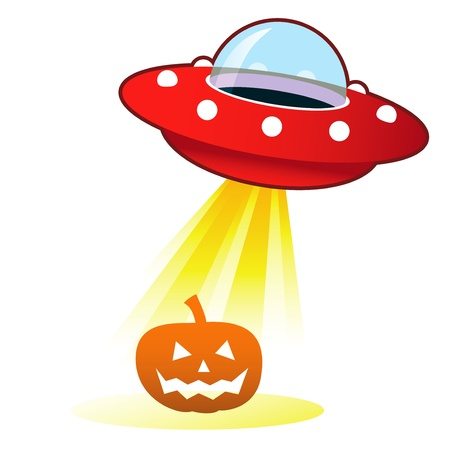 platillo volador: Calabaza de Halloween Jack O Lantern icono retro platillo volador OVNI con haz de luz Foto de archivo
