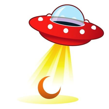 Crescent moon icon on retro flying saucer UFO with light beam