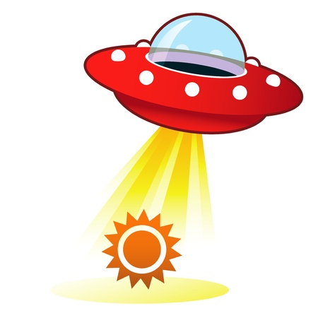 flying saucer: Sun icon on retro flying saucer UFO with light beam