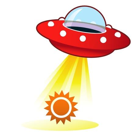Zon-pictogram op retro vliegende schotel UFO met lichtstraal