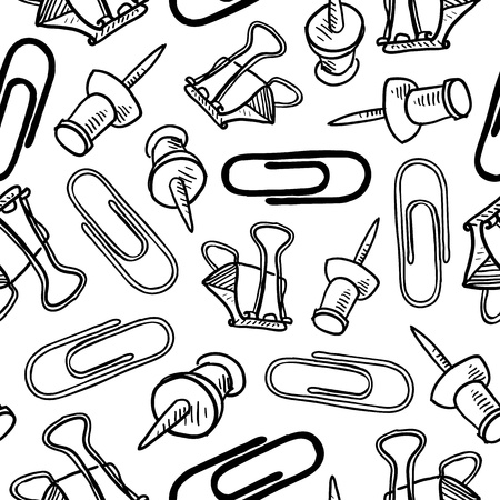 pushpins: Doodle estilo sin fisuras la oficina de dise�o de fondo suministros que pueden ser mosaico en formato vectorial Incluye clips, chinchetas y clips de mariposa
