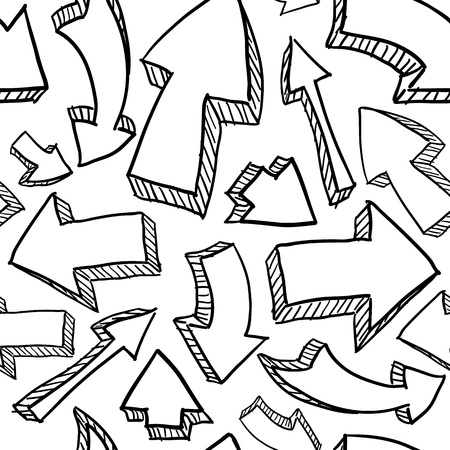 Doodle style seamless arrow background in vector format, ready to tile   Stock Illustratie