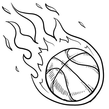 벡터 형식으로 낙서 스타일의 불타는 농구 그림