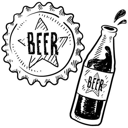 Doodle stijl bierflesje en dop schets in vector-formaat