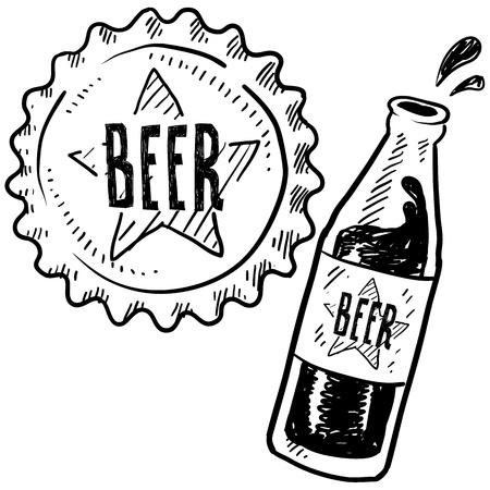 bottle cap: Doodle style beer bottle and cap sketch in vector format