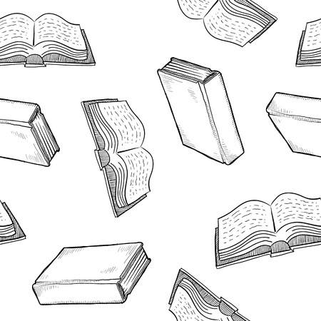 a literary sketch: Seamless book, library, or education background texture in vector format ready for tiling