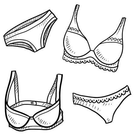 Doodle artículos de lencería estilo de ilustración en formato vectorial Ilustración de vector