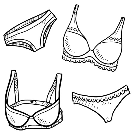 bra panties: Doodle style lingerie items illustration in vector format