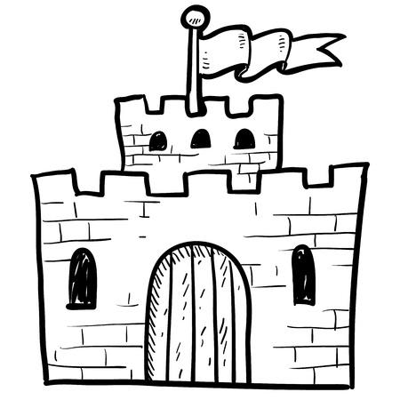 portcullis: Castello in stile Doodle o illustrazione fortificazione in formato vettoriale