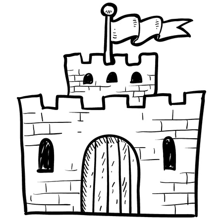 Doodle style castle or fortification illustration in vector format  Иллюстрация