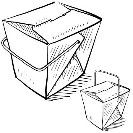 Doodle del estilo chino cajas de comida de comida para llevar en formato vectorial Ilustración de vector