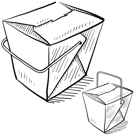 Doodle style Chinese food takeout boxes in vector format  Çizim