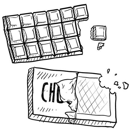 Doodle stijl chocoladereep illustratie in vector-formaat