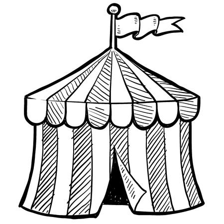 entertainment tent: Doodle de estilo carpa de circo en formato vectorial