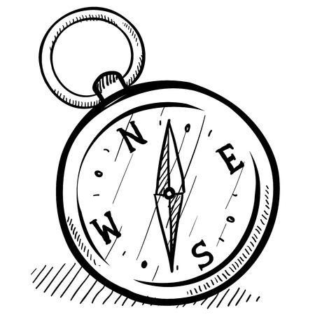 Doodle stijl magnetisch kompas illustratie in vector-formaat