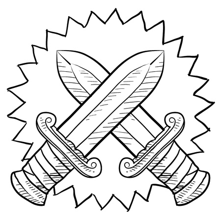 throwing knife: Doodle style swords in conflict sketch in vector format