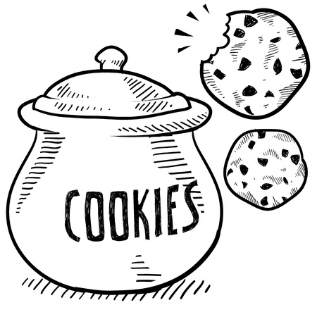Doodle stijl cookie en koekjestrommel illustratie in vectorformaat