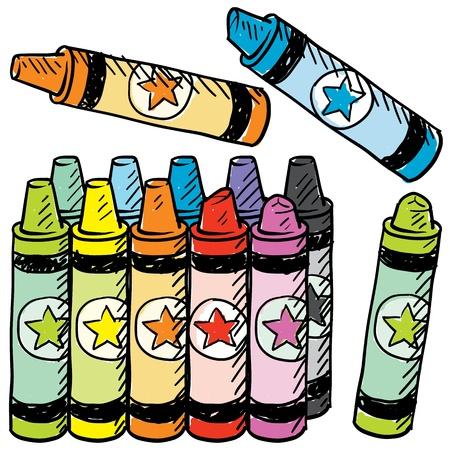 Doodle stijl kleurrijke kleurpotloden schets in vector-formaat