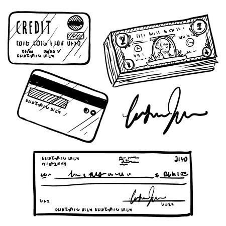 tarjeta de credito: Doodle elemento de estilo de finanzas personales establecido en Establecer formato vectorial incluye dinero en efectivo, cheque personal, tarjeta de cr�dito, y la firma