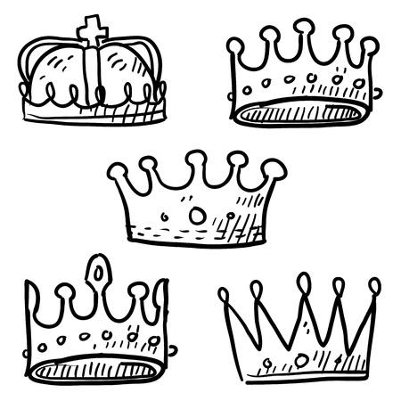 corona reina: Estilo Doodle conjunto de coronas reales en formato vectorial Vectores
