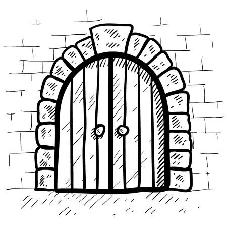 arcos de piedra: Doodle puerta del castillo de estilo en formato vectorial Vectores