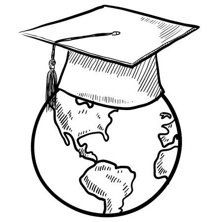Doodle style global graduation sketch in vector format    イラスト・ベクター素材