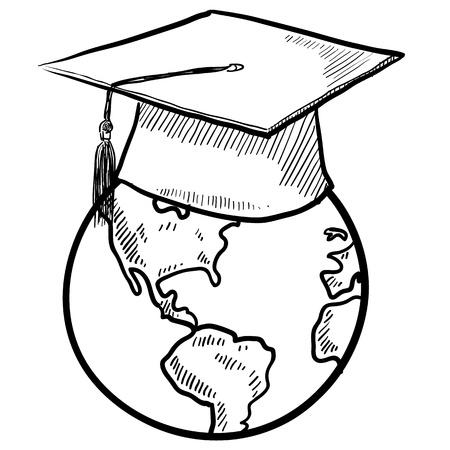 Doodle de estilo boceto de graduación mundial en formato vectorial