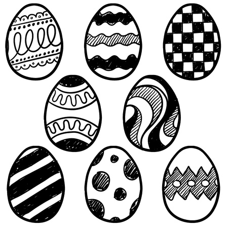 Doodle style easter egg illustration with a variety of patterns on the eggs  Vector file for easy scaling and editing   Vector