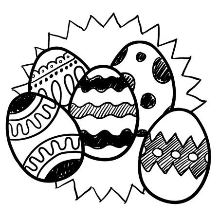 계란에 패턴의 다양 한와 낙서 스타일 부활절 달걀 그림 쉬운 스케일링 및 편집을위한 벡터 파일 일러스트