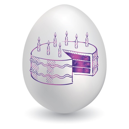 Doodle style birthday cake sketch on decorated holiday Easter Egg in vector format  Vector