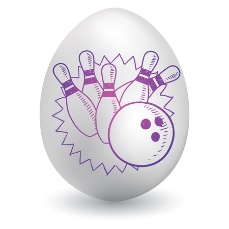 Doodle style bowling pins and ball sketch on decorated holiday Easter Egg in vector format   イラスト・ベクター素材