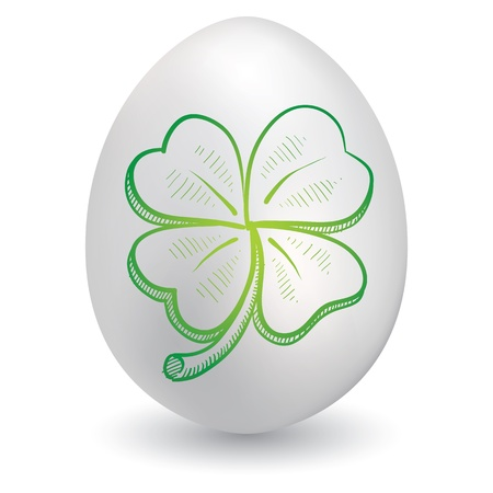 Doodle style St  Patrick s day four leaf clover or shamrock sketch on decorated holiday Easter Egg in vector format  Stock Vector - 14460780