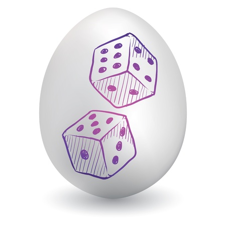 Doodle style gambling or gaming dice sketch on decorated holiday Easter Egg in vector format Stock Vector - 14460778