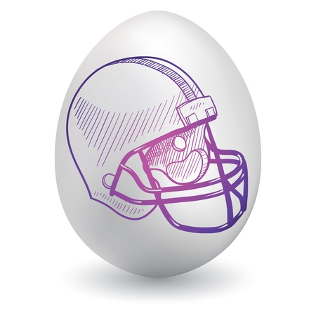 concussion: Doodle style football helmet sketch on decorated holiday Easter Egg in vector format