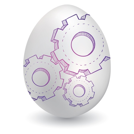Doodle style gears or settings sketch on decorated Easter Egg in vector format  Иллюстрация