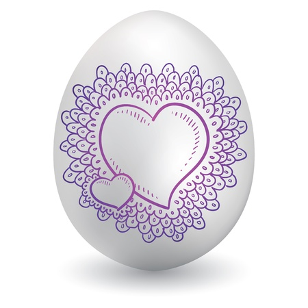 Doodle style romantic valentine s day heart sketch on decorated holiday Easter Egg in vector format  Stock Vector - 14460769