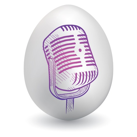 Doodle style retro radio microphone sketch on decorated holiday Easter Egg in vector format Vector