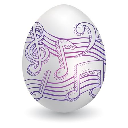 Doodle stijl muziek merkt muzieknotatie schets op ingerichte vakantiewoning Easter Egg in vector-formaat Stock Illustratie